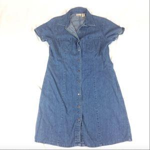 Womens Sz 12 LL Bean Denim Jean Dress Button Up